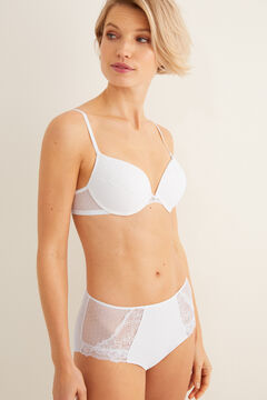 Womensecret Push up mesh and lace bra white