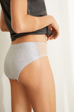 Womensecret Grey full Brazilian panty in cotton with plumetis grey