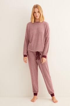 Womensecret Gránátvörös, csíkos hosszú téli pizsama barna
