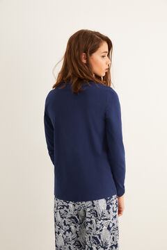 Womensecret Long-sleeved Henley t-shirt blue