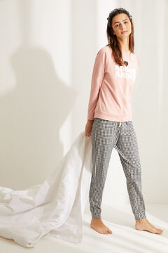 "Womensecret Long cotton ""Adore Amour"" pyjamas pink"