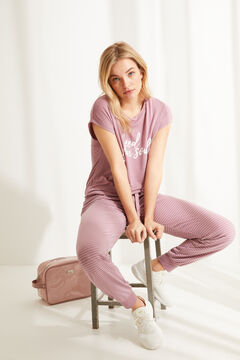 Womensecret Long pink super soft jersey-knit short-sleeved pyjamas pink
