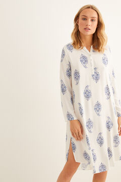 Womensecret Printed nightgown with buttons blue