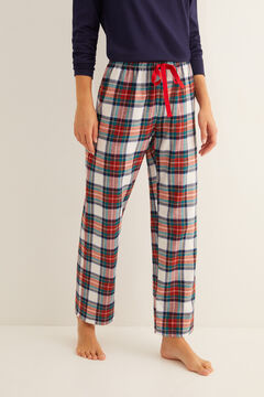 Womensecret Long cream checked print pyjama bottoms pink
