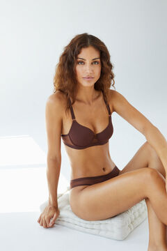 Womensecret Classic chocolate microfibre tulle heat-sealed padded bra brown