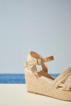 Womensecret Raffia wedge sandal nude