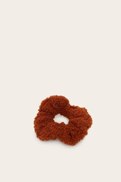 Womensecret Pack of five faux shearling scrunchies nude
