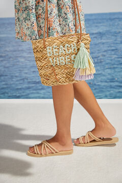 Womensecret Straw bag with handles nude