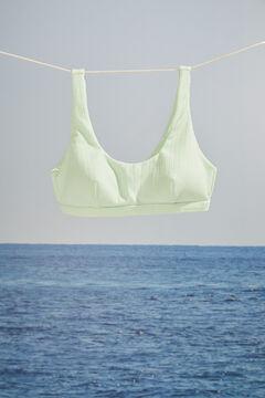 Womensecret Top bikini canalé verde mint escote halter verde