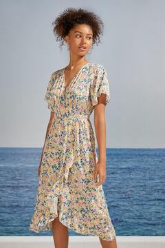 Womensecret Flounced floral midi dress white
