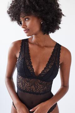 Womensecret Black lace triangular bodysuit black
