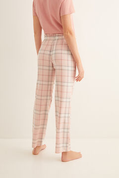 Womensecret Long pink check print pyjama bottoms printed