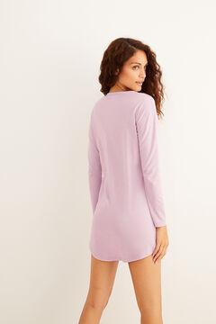 Womensecret Camisa de dormir curta rosa de algodão orgânico azul