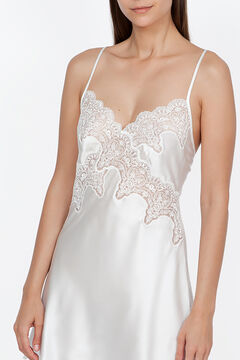 Womensecret Ivette Bridal nightgown in satin with white embroidery beige