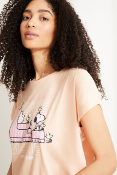 Womensecret Nuisette mi-longue coton à rayures Snoopy orange rouge