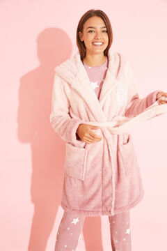 Womensecret Robe de chambre mi-longue polaire rose rose