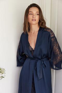 Womensecret Robe de chambre longue kimono bleu