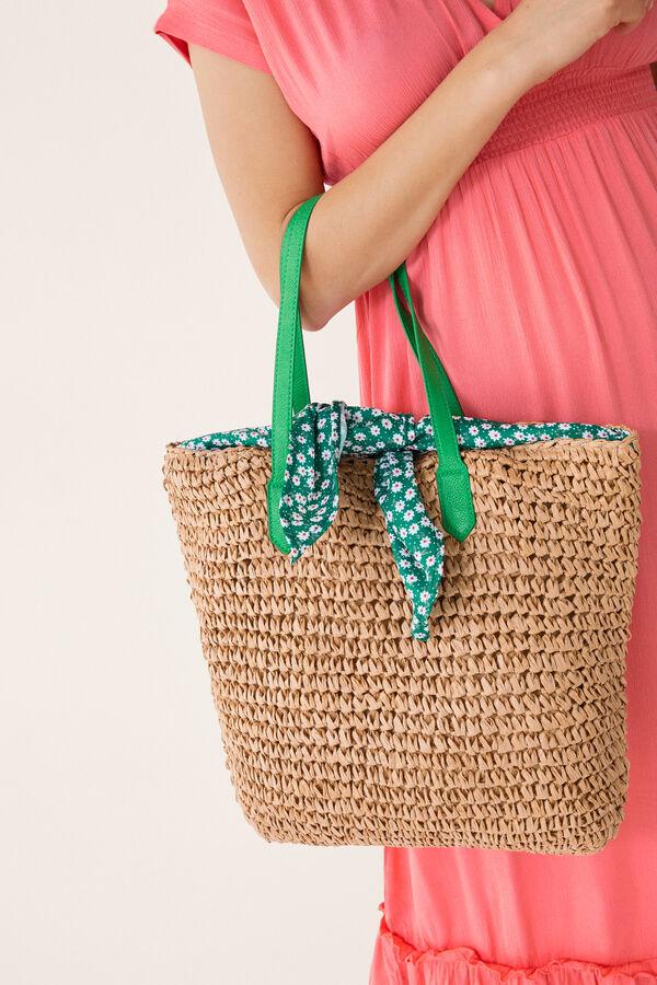 89ae170bd8 Womensecret Raffia shopper bag beige