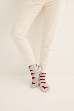 Womensecret Non-slip cosy ankle socks hearts  grey