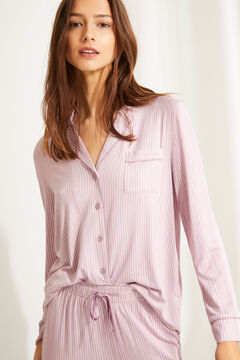 Womensecret Striped pink classic long-sleeved pyjamas pink
