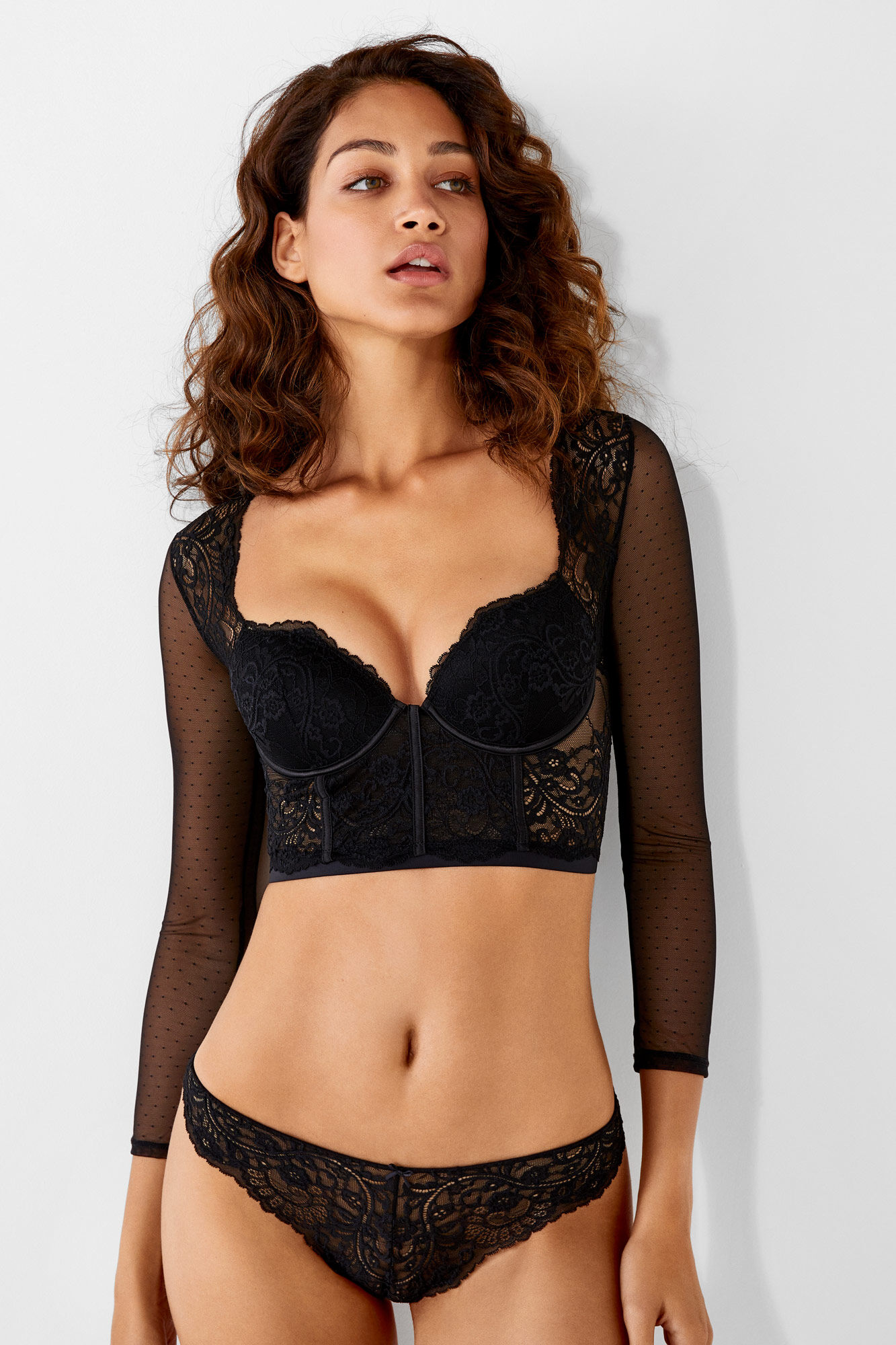 3fd6ada1ae5 Lace and tulle long-sleeved bralette