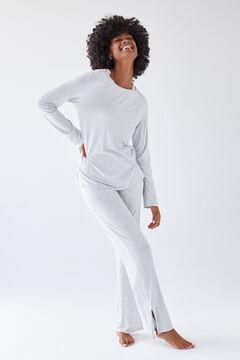 Womensecret Long grey floral lace pyjamas grey