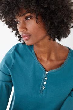 Womensecret Blue cotton long-sleeved Henley top blue