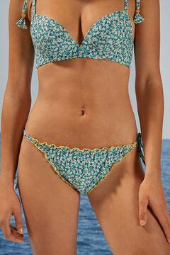 Womensecret Classic striped flounced bikini bottoms blue