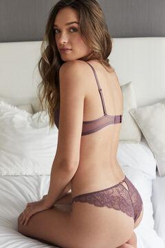 Womensecret Brazilian maroon lace panty printed