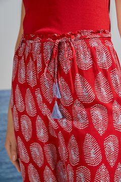 Womensecret Pantalon large fluide rouge imprimé
