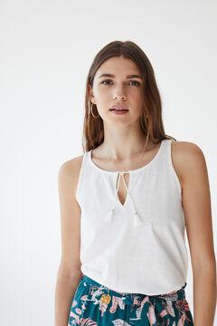 Womensecret T-shirt bretelles 100 % coton beige