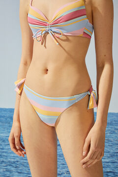 Womensecret Culotte bikini tanga rayures blanc