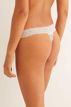 Womensecret Lace detail microfibre tanga  white