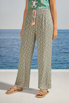 Womensecret Long floral print trousers green
