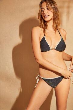 Womensecret Top bikini triangular dorado negro