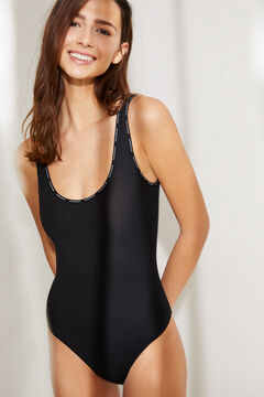 Womensecret Black organic cotton vest bodysuit black
