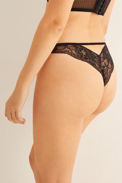 Womensecret Lace Brazilian panty with back detail. black