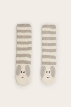 Womensecret Non-slip, soft and cosy ankle socks dog grey
