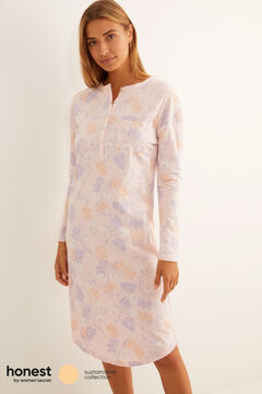 Womensecret Printed organic cotton midi nightgown pink