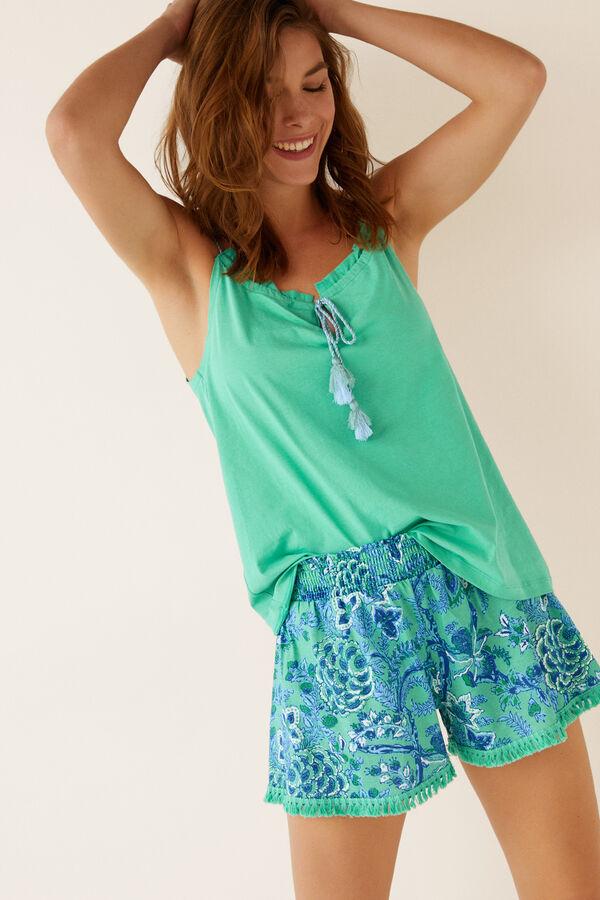 e3bde589b1 Womensecret Pijama corto flores verde