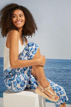 Womensecret Pantalon Capri imprimé tropical bleu bleu