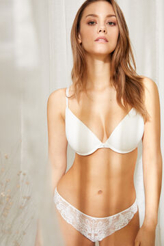 Womensecret GORGEOUS White tulle microfibre and lace push-up bra white