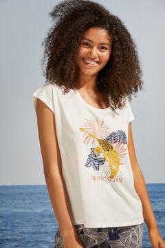 Womensecret T-shirt manches courtes maille coton blanc beige