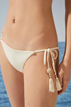Womensecret Beige pompoms classic bikini bottoms beige