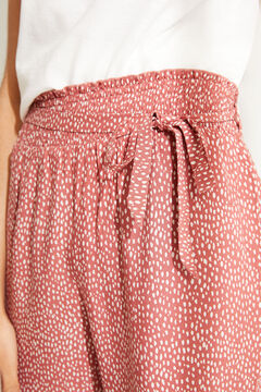Womensecret Pantalón Capri estampado animal cenefa rojo marrón