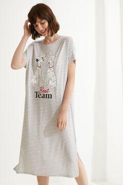 Womensecret Camisa de dormir midi 101 Dálmatas riscas cinzento