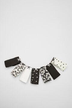 Womensecret Pack 7 cuequinhas contraste algodão  preto