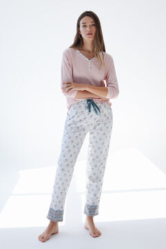 Womensecret Long grey organic cotton pyjamas pink