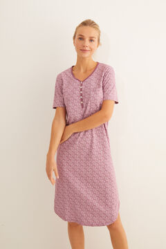 Womensecret Short-sleeved midi nightgown with Hindu print in pink brown