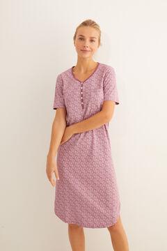 Womensecret Camisa de dormir midi de manga curta estampada hindu rosa marrom